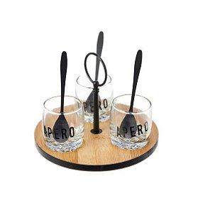 Molheiras de vidro na Bandeja de Bambu com colheres em Inox preta (16cm)