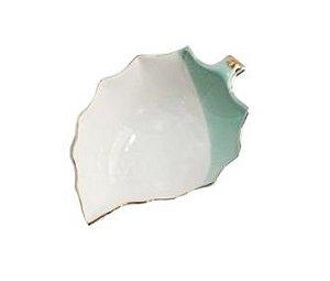 Bowl de Porcelana Folha Branco e Verde com Borda Dourada
