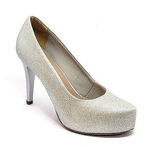 Sapato Hellen Suzan Meia Pata Salto 9 Gliter Prata