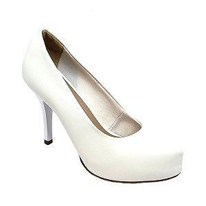 Sapato Hellen Suzan Meia Pata Salto 9 Napa Branca