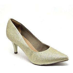 Sapato Hellen Suzan Bico Fino Salto 7 Gliter Dourado