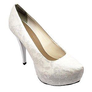 Sapato Hellen Suzan Meia Pata Salt Fino 12 Renda Branca