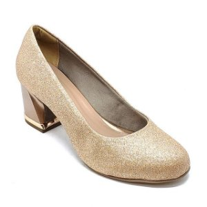 Sapato Hellen Suzan Salto Bloco Baixo Gliter Cobre