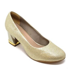 Sapato Hellen Suzan Salto Bloco Baixo Gliter Dourado