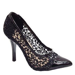 Sapato Hellen Suzan Bico Fino Salto 9 Renda Preta P