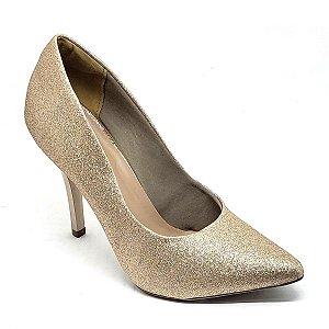 Sapato Hellen Suzan Bico Fino Salto 9 Gliter Cobre