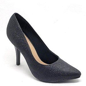 Sapato Hellen Suzan Bico Fino Salto 9 Gliter Preto