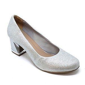 Sapato Hellen Suzan Salto Bloco Baixo Gliter Prata