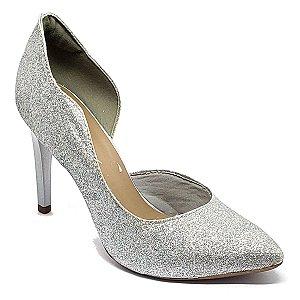 Sapato Hellen Suzan Bico Fino Com Recorte Gliter