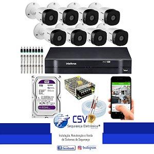 DVR Intelbras 1108 com HD1Tera WDPurple + 8 Câmeras VHL1120 720p + Instalação