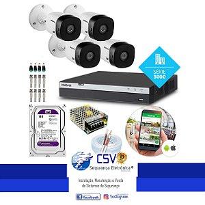 DVR Intelbras 3104 com HD1Tera WDPurple + 4 Câmeras Intelbras VHL1220 FullHD + Instalação