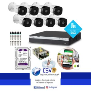 DVR Intelbras 3108 com HD WDPurple de 1 Tera + 8 Câmeras Intelbras VHL1220 Full-HD + Instalação