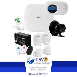 Central Alarme Intelbras AMT2018 EG com Acesso Via Aplicativo + 2 Sensores Magnéticos + 2 Sensores de Movimento Sem Fio + Instalação