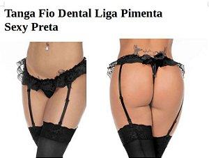 Tanga Fio Dental Liga Pimenta Sexy Preta