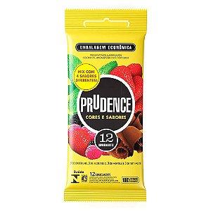 Preservativo Cor E Sabor Mix Com 12 Unid Prudence  Tm 52Mm