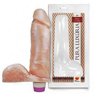 Prótese Com Vibro E Escroto 23,2x7,5cm Sexy Fantasy