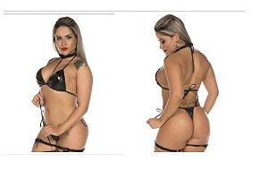 Mini Fantasia Apressadinha Sexy Pimenta Sexy Cor Preto
