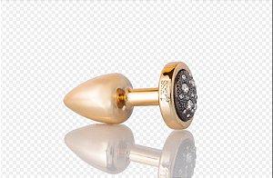 Plug Anal Less  P Dourado Com Pedra Cravejada Onix