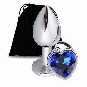 Plug Anal de Coração - Tamanho G -Cor Azul