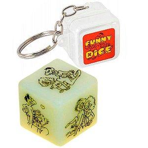Dado com Chaveiro Funny Dice Brilha No Escuro Diversão Em Cubo