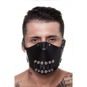 Máscara 100% Couro Legítimo Detalhes Metal Sd Clothing