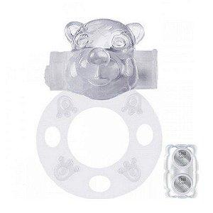 Anel Peniano Com Vibrador Formato Urso Transparente