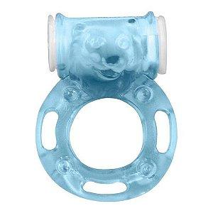 Anel Peniano Com Vibrador Formato Urso Azul