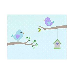 Painel de Festa Reto Pássaros Fundo Azul