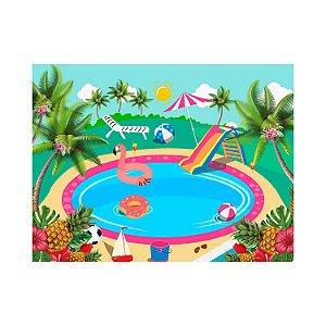 Painel de Festa Reto Piscina Tropical