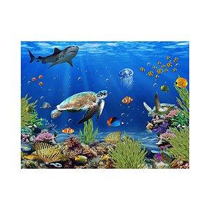 Painel de Festa Reto Fundo do Mar Tartaruga