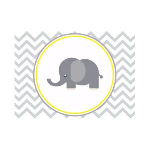 Painel de Festa Reto Elefante Zig Zag Cinza