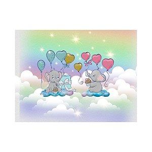 Painel de Festa Reto Elefante Nuvens Arco Íris