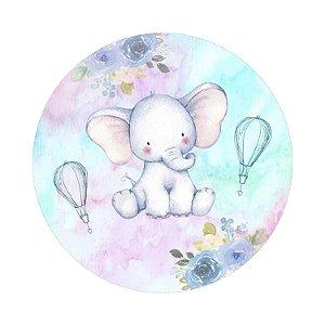 Painel de Festa Redondo Elefante Balão Aquarela