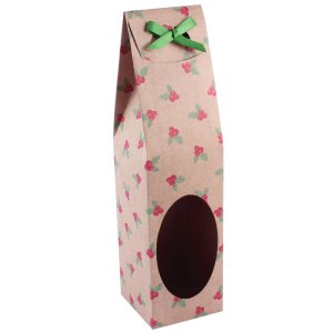 Caixa para garrafa kraft estampa natal com visor