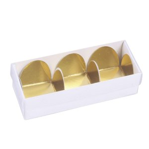 Embalagem para docinhos 10,2x4x4cm - 3 doces - branca - 10 unid.