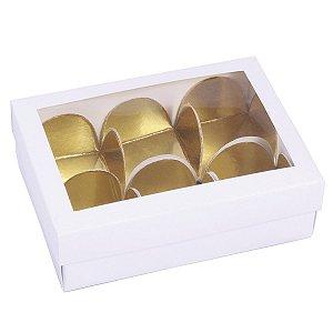 Embalagem para docinhos 10,7x7,5x3,5cm - 6 doces - branca - 10 unid.
