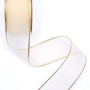 Fita 36mm c/10mts - bege c/ fio dourado