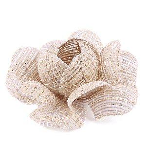 Forminhas para doces Camélia Chanel Tela - juta c/ fio ouro