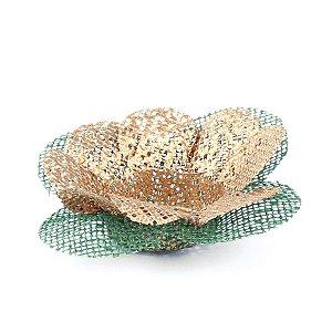 Forminhas para doces Tela Flor - ouro c/ verde