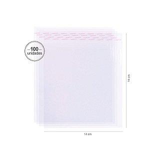 Saco transparente c/ aba adesiva  14X14cm - 100 unid. - Cromus