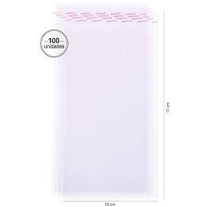 Saco transparente c/ aba adesiva 10X17cm - 100 unid. - Cromus