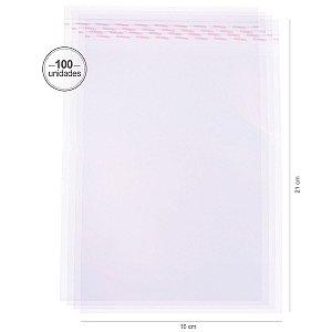 Saco transparente c/ aba adesiva 16X21cm - 100 unid. - Cromus