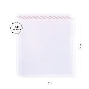 Saco transparente c/ aba adesiva 20X20cm - 100 unid. - Cromus