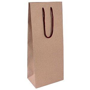 Sacola de papel kraft  para 2 garrafas 16X39X10cm