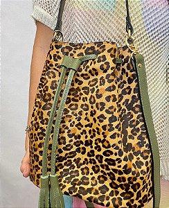 Bolsa saco onça alça couro natural