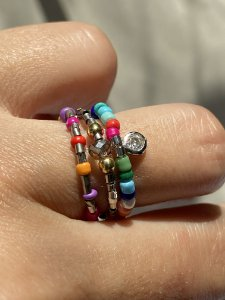 Anel trio colors pingente zirconia prateado
