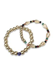 Kit pulseira bolas douradas com cristais color