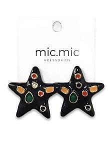 Brinco estrela preta esmaltada detalhes color