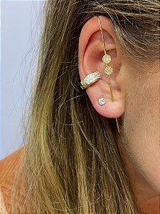 Brinco ear pin com zircônias