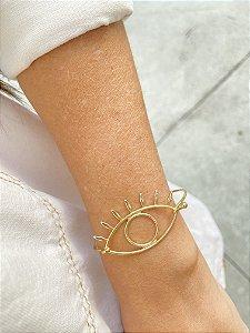 Bracelete metal dourado olho grego